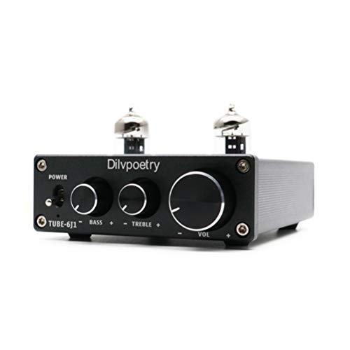 Dilvpoetry TUBE-6J1 HiFi Tube Amplifier Preamplifier Replaceble 6J1 Tubes & Adjustable Treble Bass 2 Channel Stereo Tube Amp(Black)