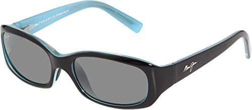 Maui Jim Punchbowl 219-03 Polarized Rectangular Sunglasses,Black & Blue Frame/Neutral Grey Lens,One - Maui Jim Sunglasses