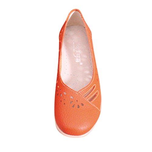 Loafers Hueca Zapatillas Casual Cuero De Mujeres Naranja YAANCUN Zapatos Transpirable Mocasines Tallado C6q0a