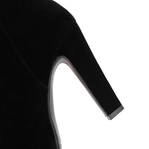 AllhqFashion Damen Mattglasbirne Hoher Absatz Rein Niedrig-Spitze Reißverschluss Stiefel Schwarz