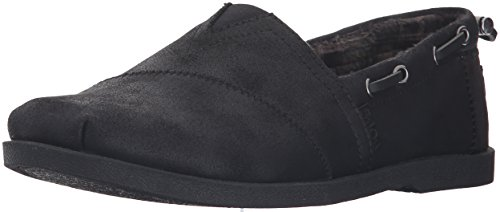Skechers BOBS Women's Chill Luxe - Buttoned Up Flat, Black/Black, 7.5 W - Black Luxe