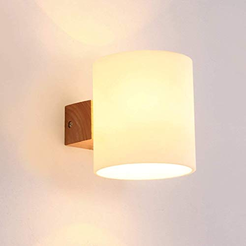 Modern Wall Sconce Modern Minimalist Solid Wood Wall Lamp Bedroom Staircase Aisle Bedside Lamp LED Log Hotel Engineering Wall Lamp Indoor Wall Mounted Lights (Color : Single Head)