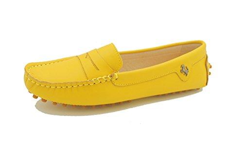 Miyoopark Kvinners Stripe Gul Skinn Tilfeldige Loafers Flats Mokasiner