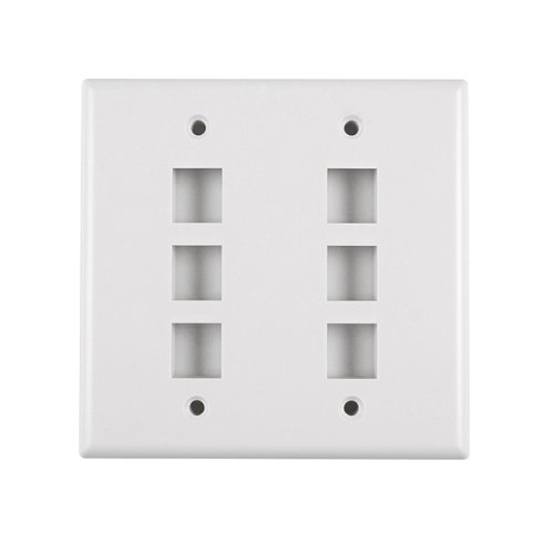 Hellermann Tyton FPDGSIX-W Dual Gang 6 Port Flush Mount Faceplate, ABS 94V-0, White