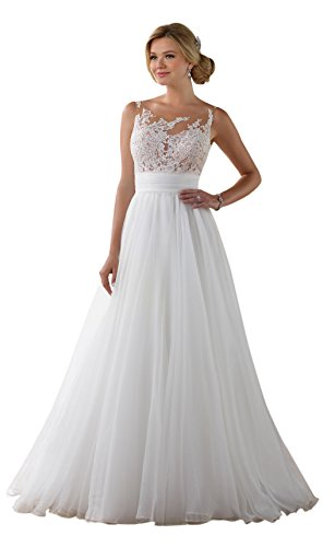 Doramei Women's Tulle Chiffon Appliques Scoop Neckline A-Line 2018 Beach Wedding Dress White 6 by Doramei