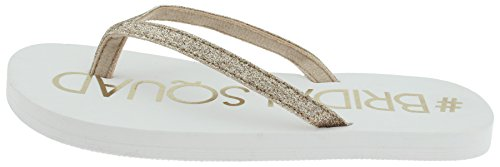 Capelli New York Ladies Fashion Flip Flops With I Do Print Gold ERnUNeVsU