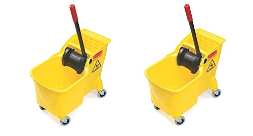 Rubbermaid Commercial Tandem Bucket and Wringer Combo, 31-Quart Capacity, 22.63-Inch Length x 13.25-Inch Width x 32.25-Inch Height, Yellow (FG738000YEL) (2 PACK)
