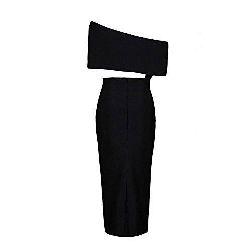 Maxi Ansatz Slash HLBandage Schulter Schwarz One Frontseiten Kleid Schlitz Kunstseide Verband waXwFTB