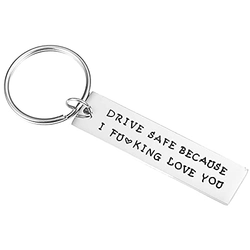 TACVEL Funny Keychain for Boyfriend Husband, Naughty Couple Gift - Drive Safe Because I Fuking Love You(Style2)