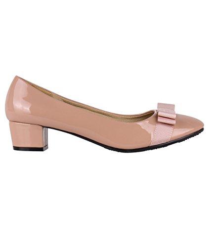 Krisp 4241-NUD-5: Low Heel Patent Bow Pumps Nude