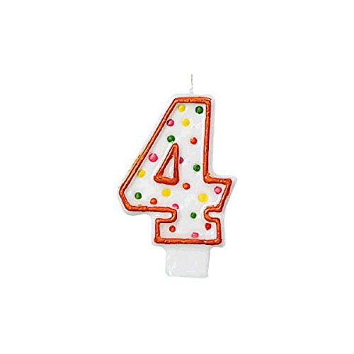 (Amscan 176004 Fun Multicolored Polka Dot Flat Molded Number 4 Celebration Candle Party Supplies, 3