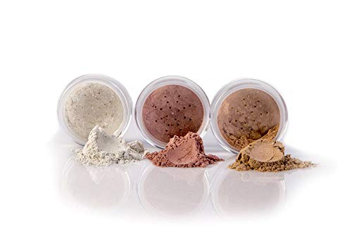 3 pc Kit FULL SIZE, FAIR 1 Mineral Makeup Set Bare Face Sheer Powder Matte Foundation Cover