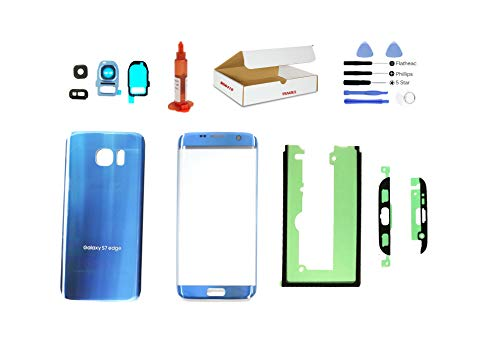 (md0410) Galaxy S7 Edge Coral Blue front outer glass lens + back cover with camera lens flash cover G935 replacement + adhesive + opening tool + LOCA glue (LCD screen & touch digitizer not included)
