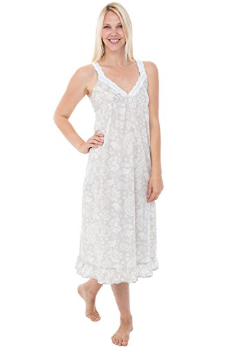Alexander Del Rossa Womens 100% Cotton Lawn Nightgown, Sleeveless Deep V Gown, X-Large Beige Cream Filigree (A0589V85XL)