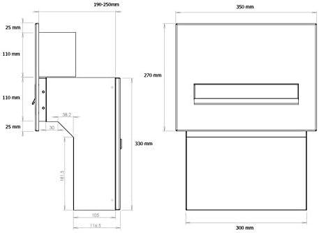 Tiefe: 19-27 cm LETTERBOX24.de F-04 Edelstahl Mauerdurchwurf Briefkasten