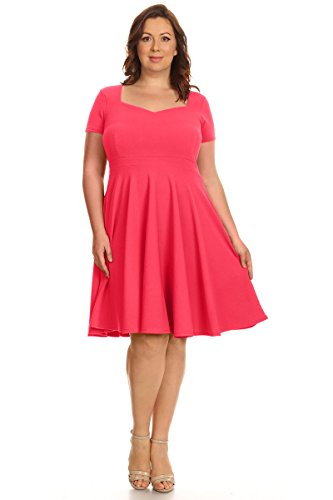 (Womens Plus Size Cocktail Party Wedding Fit & Flare Dresses - Made in USA (Size 1X, Summer Coral)