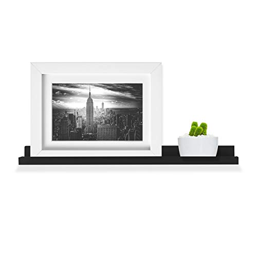 Wallniture Denver Floating Wall Shelf | Wall Mounted Picture Ledge and Bookshelf Black 22 Inch