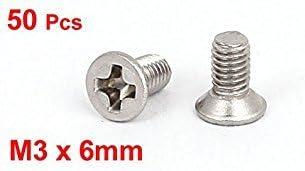 Sourcingmap/® M3/x 6/mm Phillips /à t/ête plate frais/ée Boulons Vis machine 50/pcs