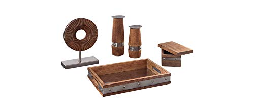 Signature Design by Ashley A2C00131 Dihn Accessory Set, Brown/Chrome Finish ()