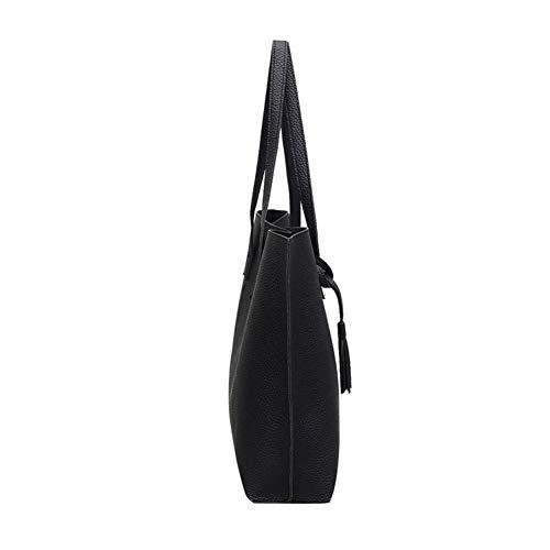 Tassel Black Concise Handbags Single High Capacity Solid Women Color Style DSstyles qUAXwgv