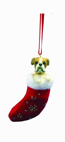 Boxer Christmas Stocking Ornament with