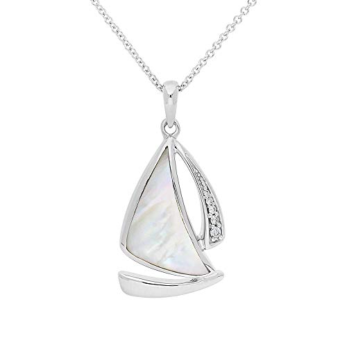 (Ze Sterling Silver White Mother of Pearl Inlayed Diamond Accented Sailboat Pendant with 18