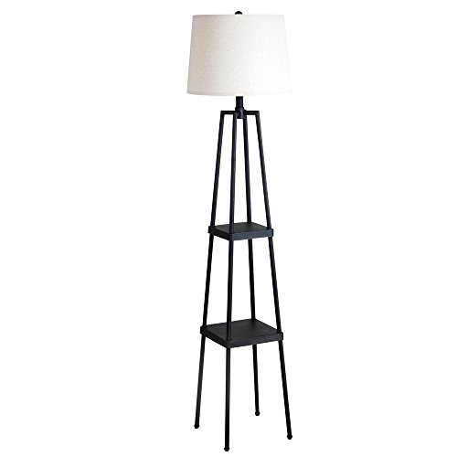 Catalina Lighting 19305-000 Transitional Etagere Floor Lamp with Shelves, Ivory Beige Linen Shade and 3-Way Switch, 58in, Distressed Iron Metal, Black (Renewed)