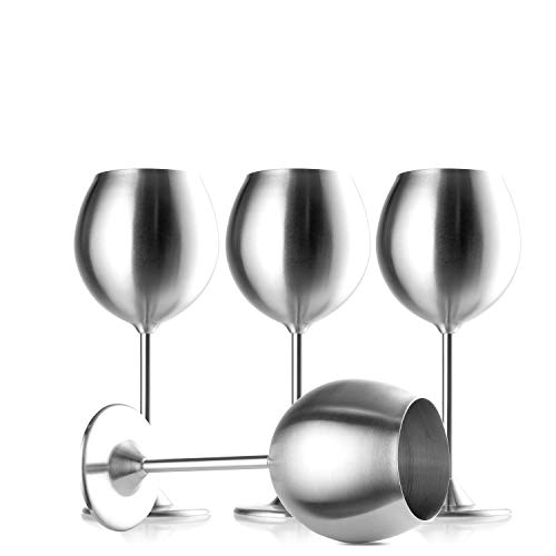 Modern Innovations Stainless Steel Stemmed Wine Glasses, Set of 4, 12 Oz Elegant Wine Glasses Made of Dishwasher Safe Unbreakable BPA Free Shatterproof SS Great for Daily, Formal & Outdoor Use by Modern Innovations