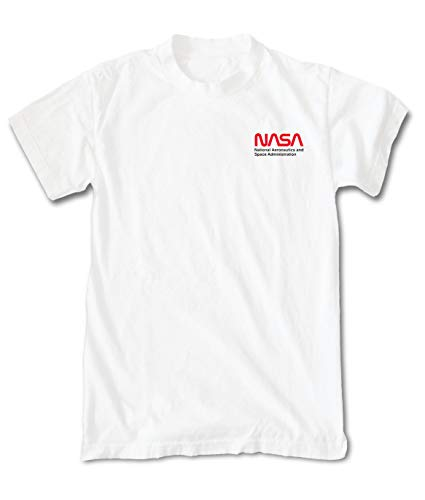 Riot Society NASA Red Worm Logo Embroidered Mens T-Shirt - White, X-Large