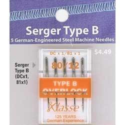 Klasse' Serger Needles Type B (DCx1,81x1) Size 80/12