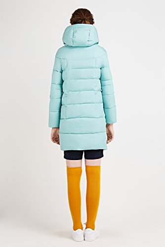 Incappucciato Icebear Blu Trapuntata Cappotto Da Donna Chiaro Down Giacca Invernale Colletto Lunga Caldo IHqCI