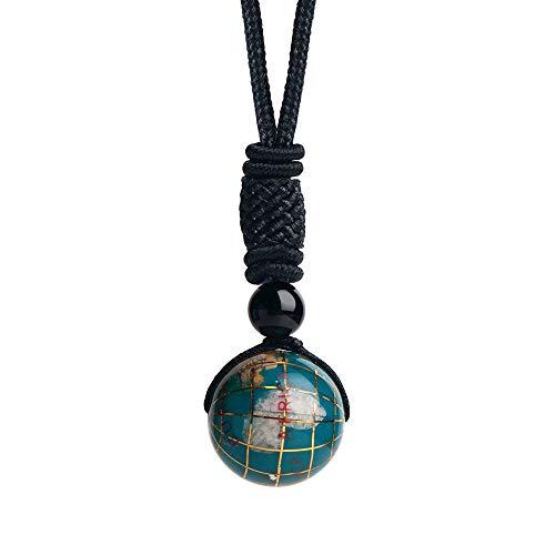 iSTONE Unisex Genuine Round Gemstone Beads 20mm Globe Pendant Necklace with Adjustable Nylon Cord 24 Inch