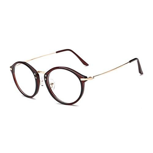 myopie Homme résine Mode lentilles Round Huicai Rétro métal Frame Lunettes Marron cadre lunettes Femme qIEw6Hw