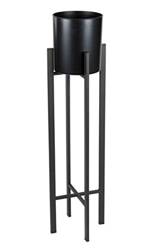 Plant Stand Set - Modern Plastic Planter with Tall Metal Stand - Decorative Tall Standing Flower Succulent Pot Holder, Indoor Outdoor Home Decor for Terrace, Patio - Black, 28.4 x (Flowering Plastic Plants)