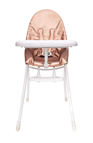Nano Urban High Chair - Bloom Nano Foldable Modern Baby Highchair for Urban Living (Special Edition) (White Frame Rose Gold)