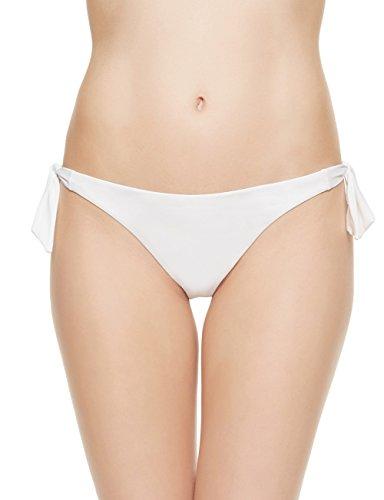 EONAR Womens Cheeky Bottom Tieside Brazilian Bikini Briefs Sweetheart Hipster (XL,White)