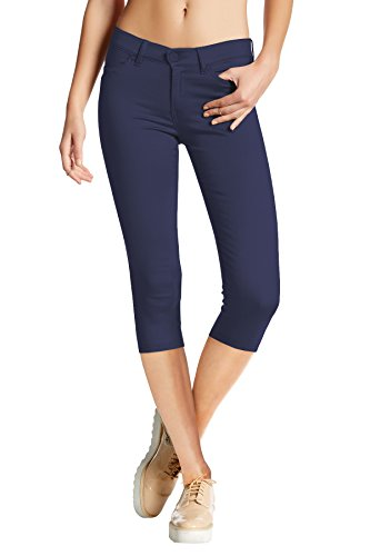 Women's Hyper Stretch Denim Capri Jeans Q44876X Navy ()