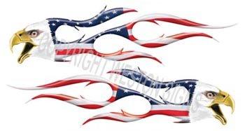 Digitally Airbrushed Eagle Head Flame Decal American Flag - 12