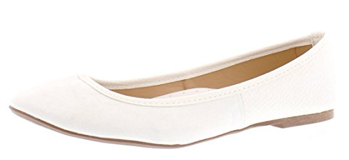 Gold Toe Women's Ermina Mixed Media Faux Suede and Snake Skin Round Toe Ballet Flat Comfort Dress Shoes White 9 US