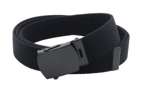Canvas Web Belt Military Style with Black Buckle and Tip 56' Long Many Colors (Black)