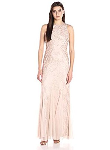 Adrianna Papell Women's Halter Beaded Godet Gown, Rose Gold, 4 (Halter Mesh Gown)