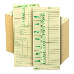 Tops Weekly Time Sheet - TOPS 1291 Time Card for Pyramid Model 331-10, Weekly, Two-Sided, 3 1/2 x 8 1/2 (Box of 500)