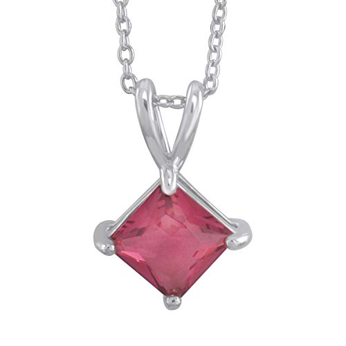 - Trillion Jewels 1ct Created Ruby Princess Cut Solitaire Pendant Necklace with 18 Inch Chain