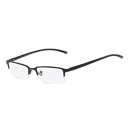 Pstars Unisex Stylish Square Non-Prescription Eyeglasses Glasses Semi-Rimless Eyeglasses Clear Lens Eyewear Flat Mirror Metal Blue Film Glasses