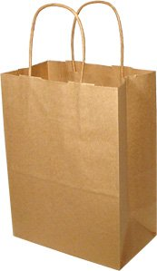 100% RECYCLED Natural Brown Kraft Paper Shopping Bags - 5 x 3.5 x 8 in qty. /case 250 by Natura