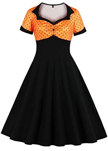 Nihsatin Vintage Polka Dot Retro Cocktail Prom Dress 50's 60's Rockabilly Costume Midi Swing Dresses Orange -