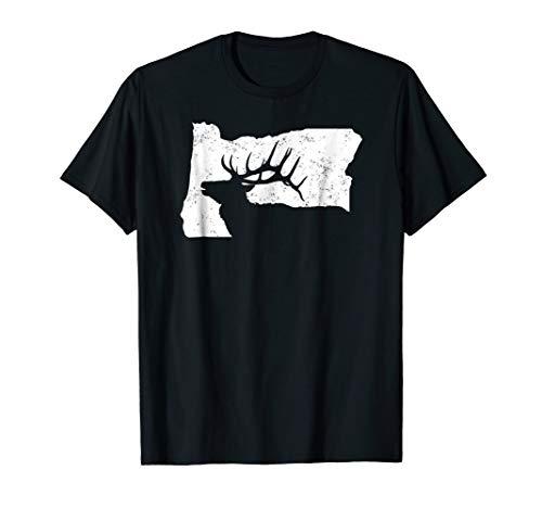 Oregon Elk Hunting Shirt - Bull Elk State Shape