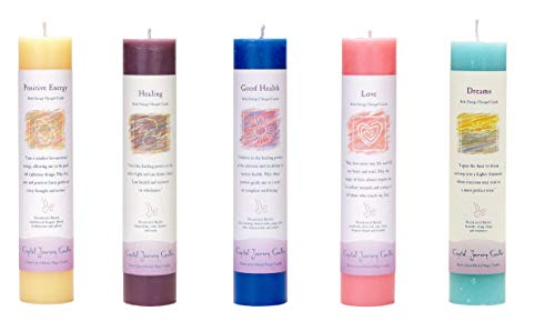 Crystal Journey Reiki Charged Herbal Magic Pillar Candle with Inspirational Labels - Bundle of 5 (Positive Energy, Healing, Good Health, Love, Dreams) Each 7''x1.5'' handcrafted with lead-free materials by Crystal Journey