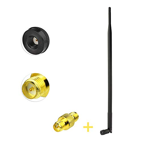(wlaniot 900MHz 3G 4G Antenna Kit 9Dbi External Omni Rubber Duck Antenna with RP-SMA Connector + RP-SMA Female to Female Adapter for Cell Phone Signal Booster Router Security Camera )