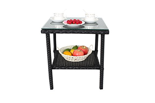 Outdoor Indoor Garden Furniture Wicker Rattan Coffee Side Table With  Tempered Glass Top Patio Ta .